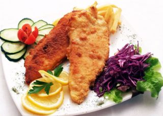 Fried hake fillets delivery