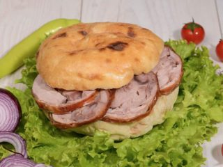 Shepherds bun with rolled veal delivery