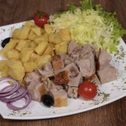 Meal rolled roasted veal 200 grams with shepherds potato