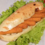 Shepherds fasting flat bread with fish croquettes