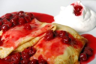 Pancakes with cherry delivery