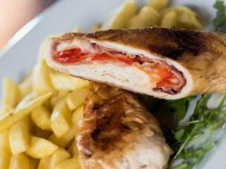 Chicken rolled with pancetta,stuffed with cheese and pepper delivery