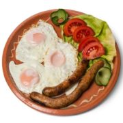 Fried eggs with fried sausage