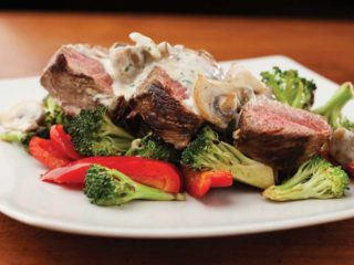 Beefsteak with mushrooms sauce delivery
