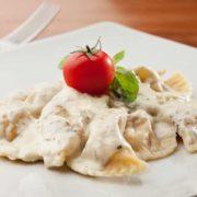 Ravioli goat cheese, prosciutto, gorgonzola sauce