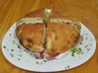 Pizza-sandwich smoked ham delivery