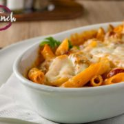 Baked penne with sausage and turkey