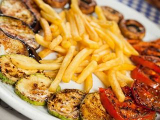 Grilled vegetables with French fries delivery