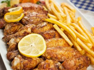 Grilled wings with French fries delivery