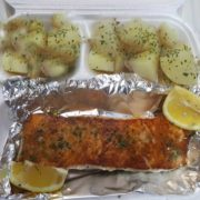 Grilled salmon fillet with side dish