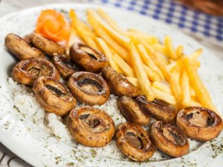 Grilled mushrooms with French fries delivery