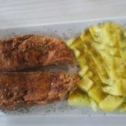 Fried catfish cutlet with side dish