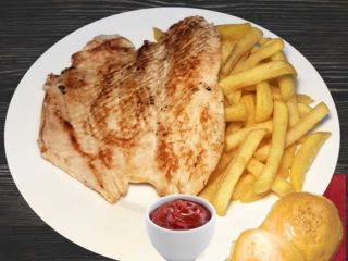 Grilled chicken white with french fries delivery