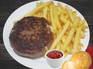 'Salas'' 011 stuffed burger with french fries delivery