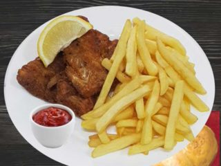 Fried hake fillet delivery