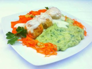 Chicken meatballs in a white sauce with dill with side dish delivery