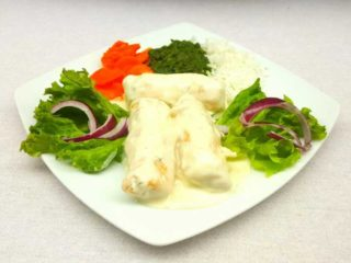 Chicken rolls with side dish delivery