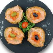 Bruschette smoked salmon fasting