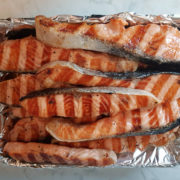 Smoked salmon on grill