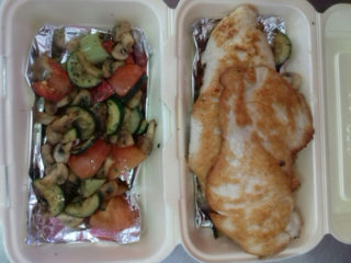 Chicken breasts and grilled vegetables delivery