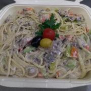 Pasta seasonal vegetables, neutral cream, parmesan