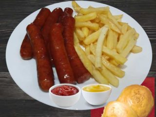 Smoked sausages with french fries delivery