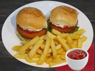 Fishburgers with french fries delivery