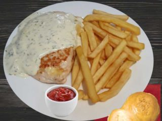 Stuffed chicken white with french fries delivery
