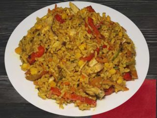 Risotto with vegetables in curry sauce delivery