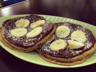 American crepes with choco-hazelnut cream and banana delivery