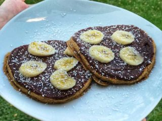 American crepes with banana, coconut and date spread delivery
