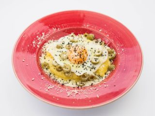 Polenta with olives and egg delivery