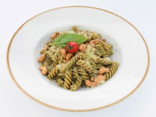 Pasta with homemade pesto sauce delivery