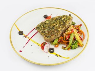 Tuna steak coated with  parmesan delivery