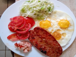 Eggs with sausages delivery