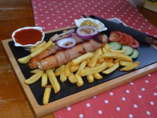 Sausages with cheese delivery