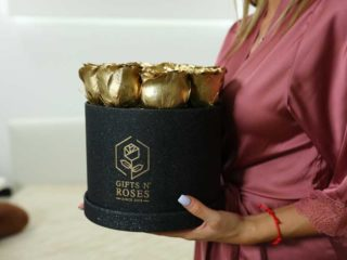 Premium box with golden rose delivery