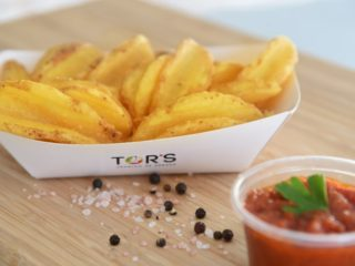 Crispy potatoes + red Tor's sauce delivery