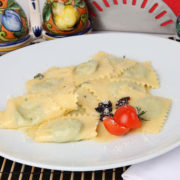 Ravioli stuffed with ricotta, spinach and parmesan