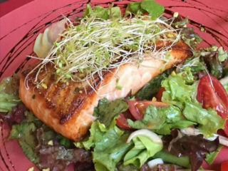 Grilled salmon on green salad mix delivery