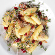 Goat cheese gnocchi in sun dried tomato, bacon, sage and peperoncino sauce