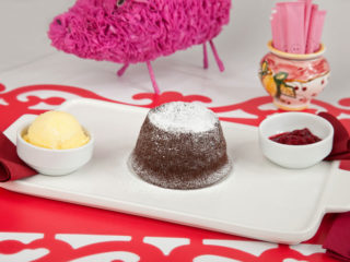 Chocolate fondant with raspberry sauce delivery