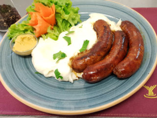 Slovakia piquant sausage with mashed potato delivery
