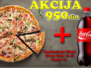 Capricciosa 50cm + Coca Cola 1L ili Fanta 1L dostava